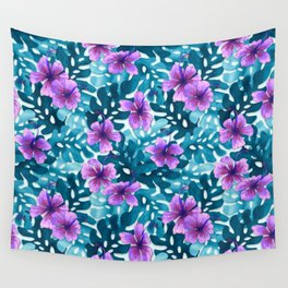 Tropical Hibiscus Pattern Purple Wall Tapestry