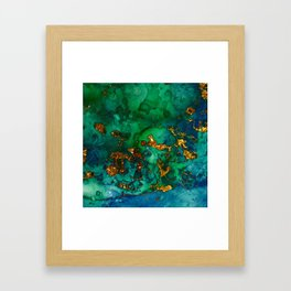 Emerald And Blue Glitter Marble Framed Art Print