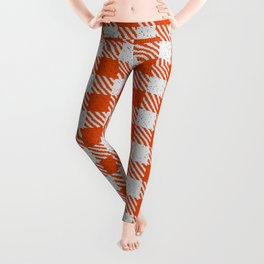 Orange Red Buffalo Plaid Leggings