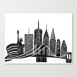 Linocut New York Canvas Print
