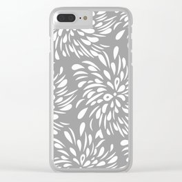 DAHLIA FLOWER TEAR DROPS AND RAIN DROPS SWIRLS GRAY AND WHITE Clear iPhone Case