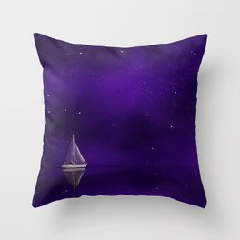 Purple Ship Throw Pillow