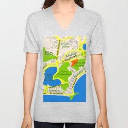 RIO map design - Brasil Unisex V-Neck