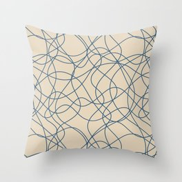 Blue & Beige Scribbled Lines Hand Drawn Mosaic Pairs To 2020 Color of the Year Chinese Porcelain Throw Pillow