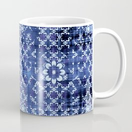 Hippy Tribal on blue linen. Coffee Mug
