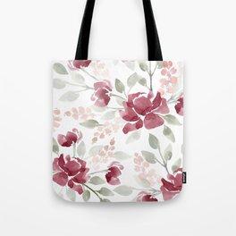 Burgundy Watercolor Floral Tote Bag