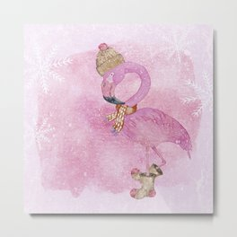 Winter Woodland Stranger- Cute Flamingo Bird Snowy Forest Illustration Metal Print