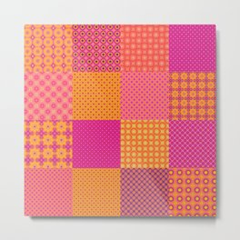 4x4 tiled digital patchwork, quilt like pattern. 16 different patterns. Metal Print