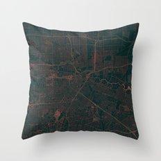 Houston Map Red Throw Pillow