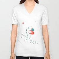 backpack V-neck T-shirts featuring Explore by Freeminds