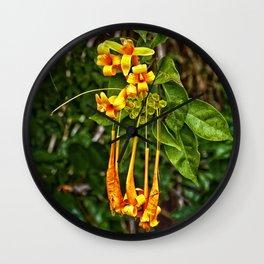Beautiful orange trumpet flowers Wall Clock