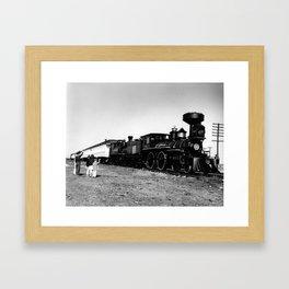Wave to the Train - Saluer le train  Framed Art Print