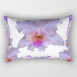 WHITE CATTLEYA ORCHIDS & PURPLE  ART Rectangular Pillow
