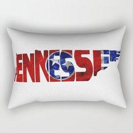 Tennessee Typographic Flag Map Art Rectangular Pillow