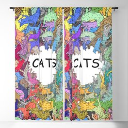 Colorful Rainbow Cats Blackout Curtain