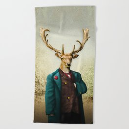 Lord Staghorne in the wood Beach Towel