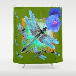 BLUE DRAGONFLIES MORNING GLORY GREEN ART Shower Curtain