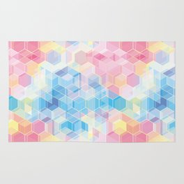 Hive: pink and blue hexagon pattern Rug