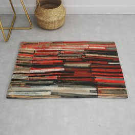 Stripe Layers in Red and Gray Rug