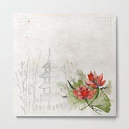 Asian temple and lotus flowers watercolor painting Metal Print