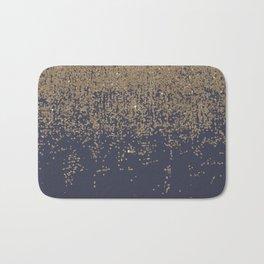 Navy Blue Gold Sparkly Glitter Ombre Bath Mat