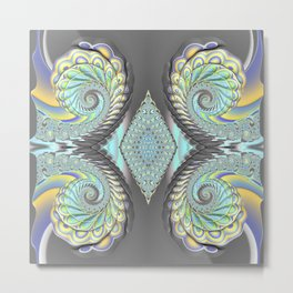 FRACTAL ART GREY & PASTEL Metal Print