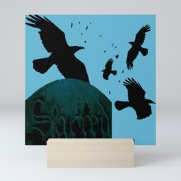 Sacred Gothic Text Gravestone With Crows and Ravens Mini Art Print