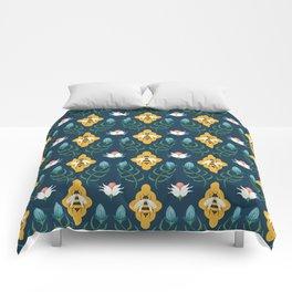 Summer Bees Blue Comforters
