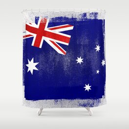 Australian Distressed Halftone Denim Flag Shower Curtain
