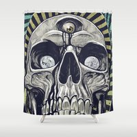 third eye Shower Curtains featuring The Third Eye by Matthew Fields Robinson