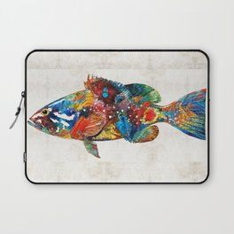 Colorful Grouper Art Fish by Sharon Cummings Laptop Sleeve