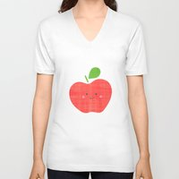 apple V-neck T-shirts featuring apple by Berreca