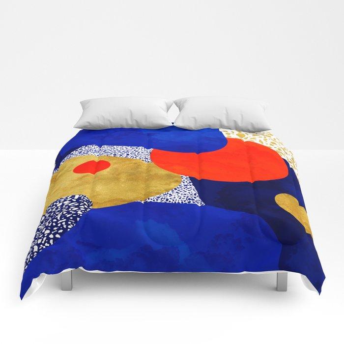 Terrazzo galaxy blue night yellow gold orange Comforters