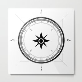 Black Compass on White Metal Print