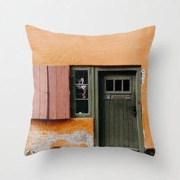Orange and green door and window stork illustration in Copenhagen,  Denmark. Travel photography. Art print Throw Pillow
