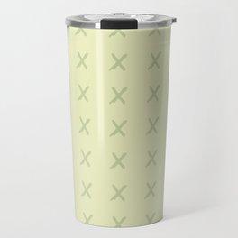 Pastel ivory green hand painted geometrical crosses pattern Travel Mug