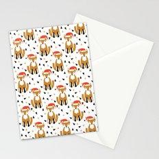 Festive Christmas Fox kids pattern woodland winter geometric fox santa hat fun Stationery Cards