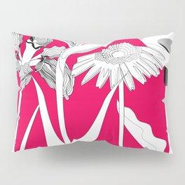 Spring Flowas Bring Girl Powas, Black and White Illustration Pillow Sham