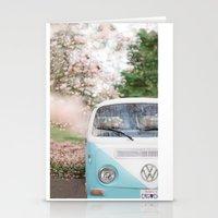 volkswagen Stationery Cards featuring Vintage Volkswagen Van by Leslee Mitchell