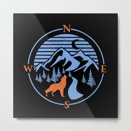 Compass Navigation Wolf Outdoor Nature Metal Print