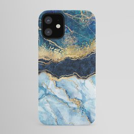 Abstract blue marble texture, gold foil and glitter decor, painted artificial indigo marbled surface, fashion marbling illustration iPhone Case