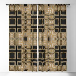 Black Gold Geometry Blackout Curtain