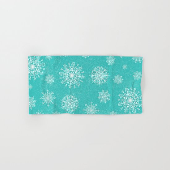 Assorted Snowflakes On Turquoise Backround Hand & Bath Towel