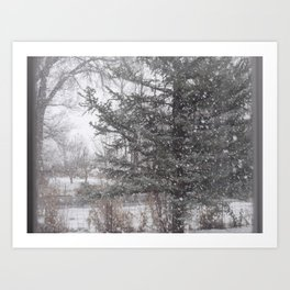 Soft snow falling Art Print