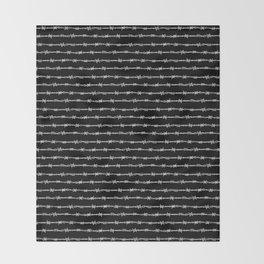 barbed wire stripe - black Throw Blanket