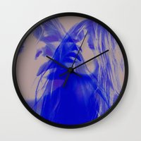kate moss Wall Clocks featuring double Kate blues (kate moss) by Kiki collagist