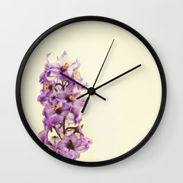 Purple Larkspur Delphinium Flowers Wall Clock