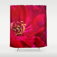 peony Shower Curtains featuring Peony by Christine Belanger