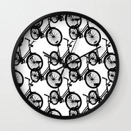 Bicycles Black Wall Clock