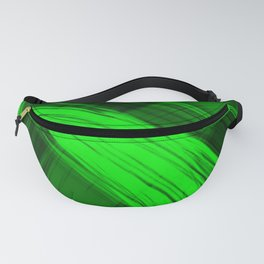 Bright pillars of green light from flowing lines on dark fabric. Fanny Pack